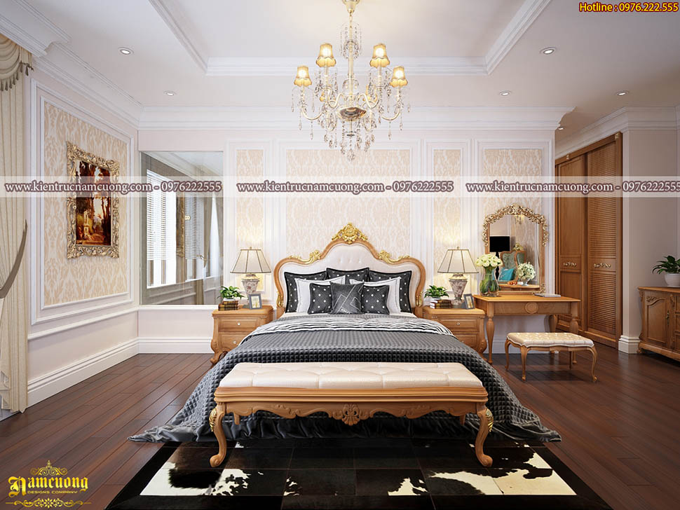 Thiết kế nội thất phòng ngủ nhà tân cổ điển tại Hà Nội - PNCD 076