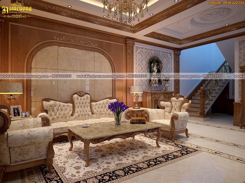 Nội thất phòng khách biệt thự tân cổ điển tại Hà Nội - NTPKCD 065