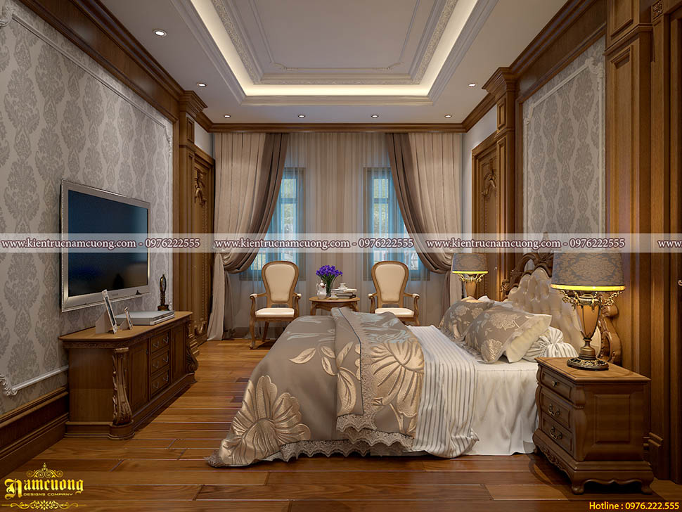 Thiết kế phòng ngủ biệt thự tân cổ điển tại Hà Nội - NTPNCD 079
