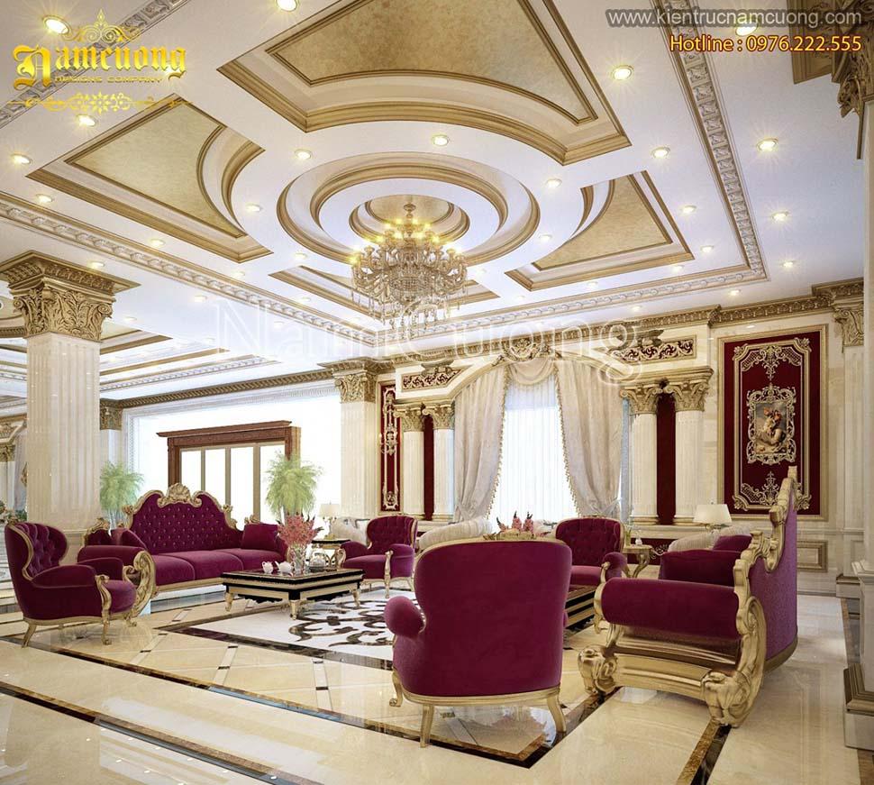 Thiết kế nội thất phòng khách biệt thự Pháp ấn tượng tại Sài Gòn - NTKP 027