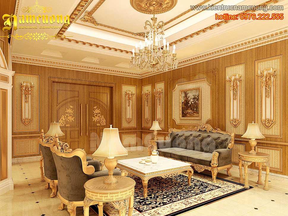 Thiết kế nội thất phòng khách tân cổ điển ấn tượng tại Sài Gòn - NTKTCD 037