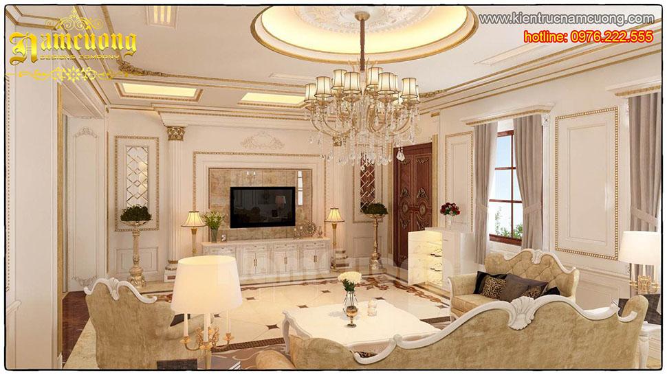 Thiết kế nội thất phòng khách tân cổ điển ấn tượng tại Quảng Ninh - NTKTCD 038