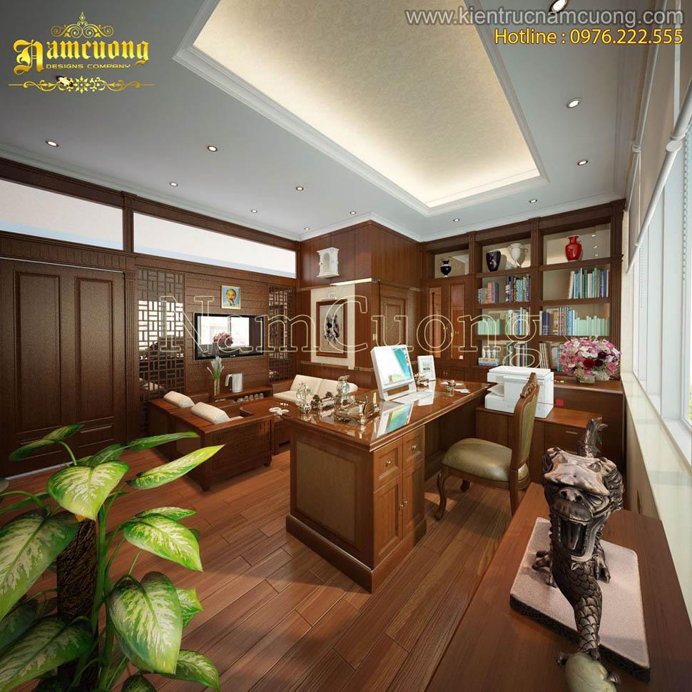 Thiết kế phòng làm việc nội thất cổ điển sang trọng - NTPLV 001