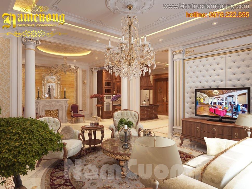 Thiết kế nội thất phòng khách tân cổ điển tại Sài Gòn - NTKTCD 020