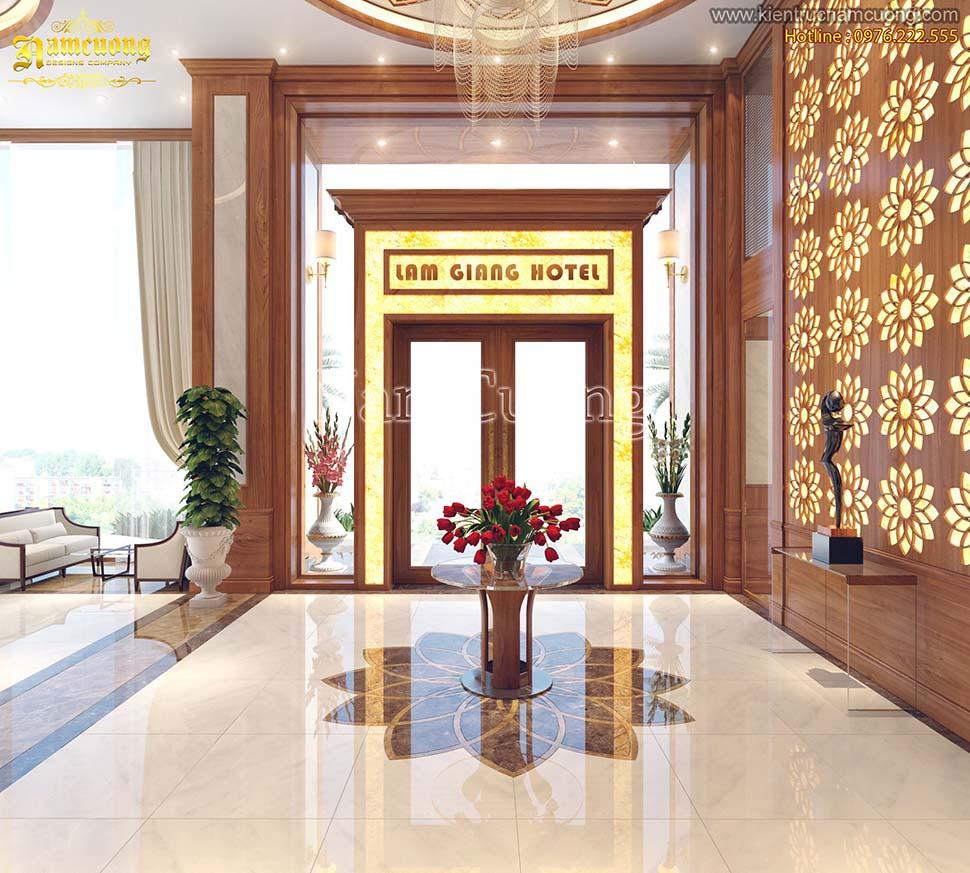 Mẫu thiết kế sảnh khách sạn phong cách tân cổ điển ấn tượng - NTKSCD 001