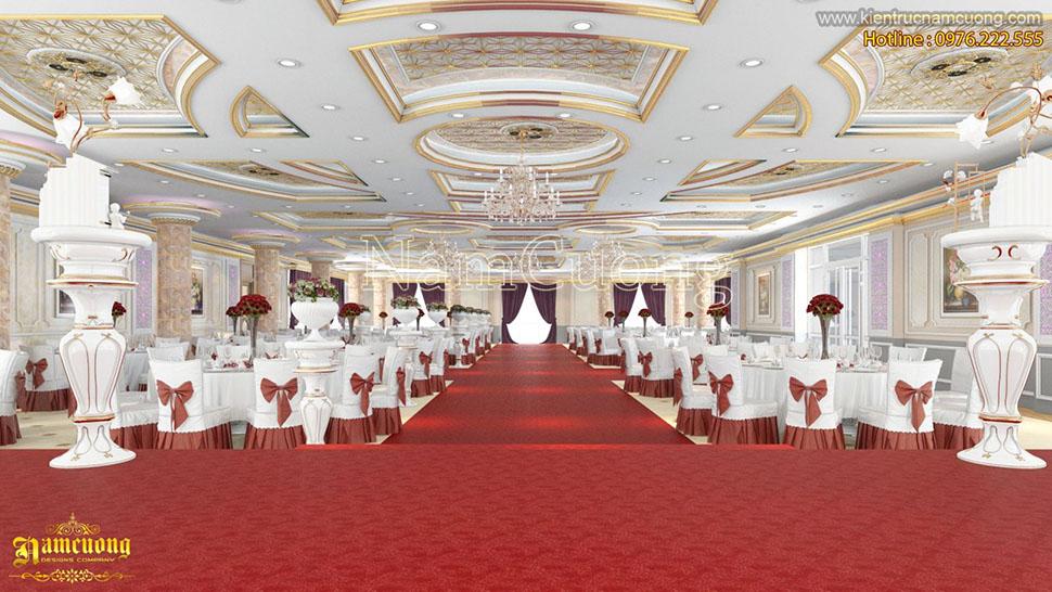 Thiết kế nhà hàng tiệc cưới khách sạn cổ điển sang trọng tại Hà Nội - NTKSCD 007