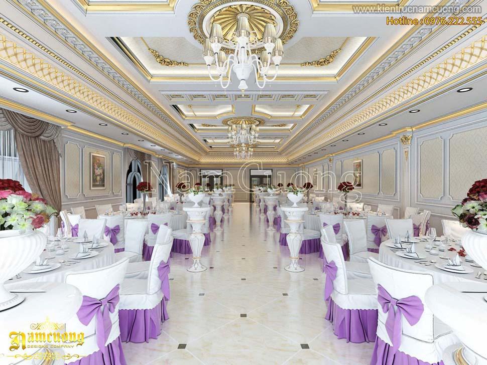 Thiết kế nhà hàng tiệc cưới tại Ninh Bình phong cách cổ điển sang trọng - NTKSCD 012