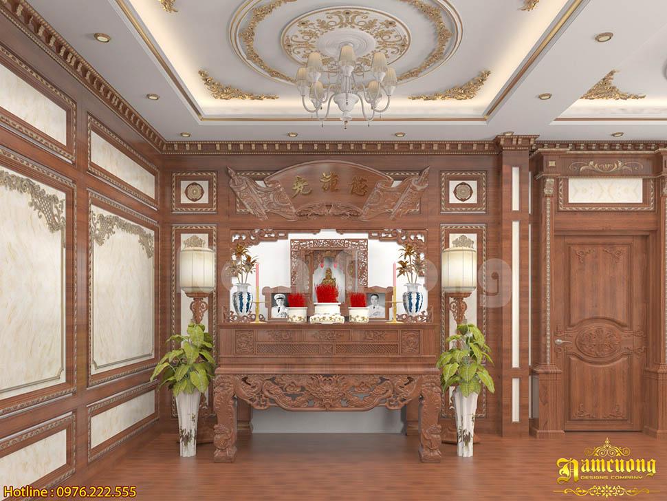 Mẫu thiết kế phòng thờ sang trọng với phong cách tân cổ điển tại Sài Gòn- NTPTCD 004