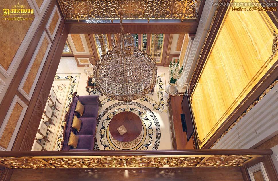 Mẫu nội thất phòng khách bếp biệt thự cổ điển Pháp sang trọng - NTKBCD 041