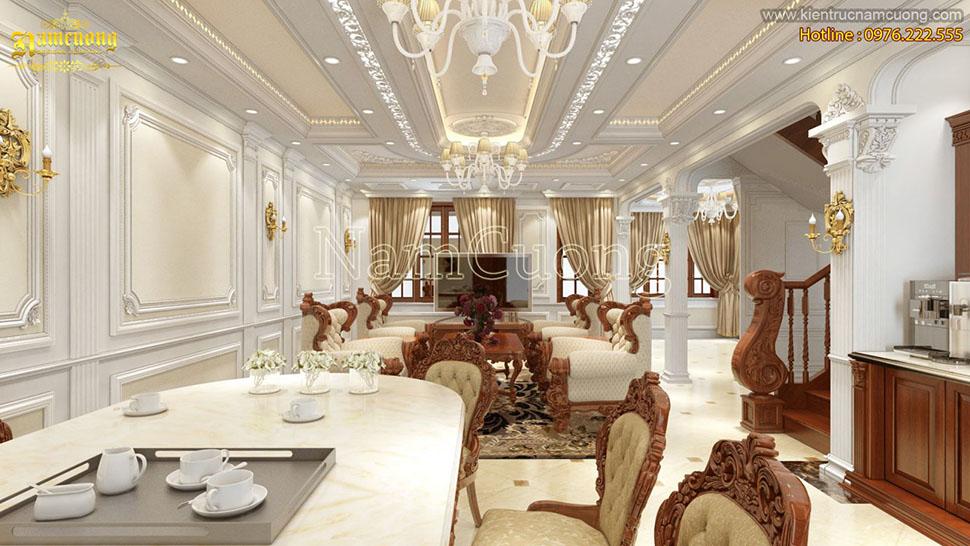 Thiết kế phòng khách bếp biệt thự cổ điển tại Hà Nội - NTKBCD 055