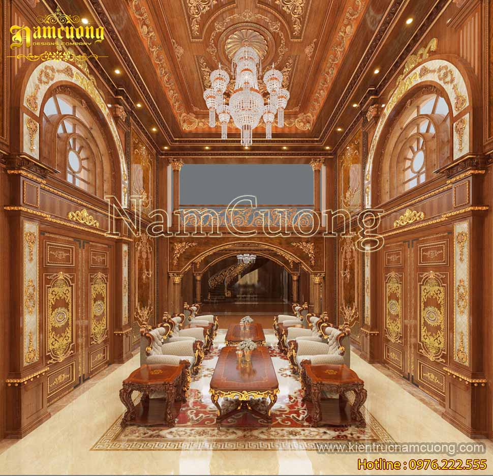 Phòng khách bếp thiết kế nội thất bằng gỗ cổ điển sang trọng đẳng cấp - NTKBTCD 041