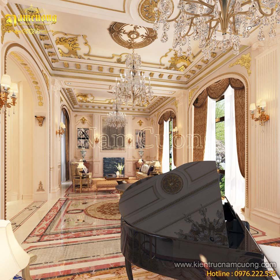 Mẫu phòng khách đẹp biệt thự cổ điển tại Quảng Ninh - NTKCD 039