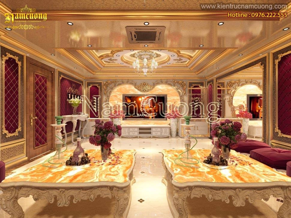 Mẫu nội thất phòng khách cổ điển lịch lãm sang trọng tại Sài Gòn - NTKTCD 058