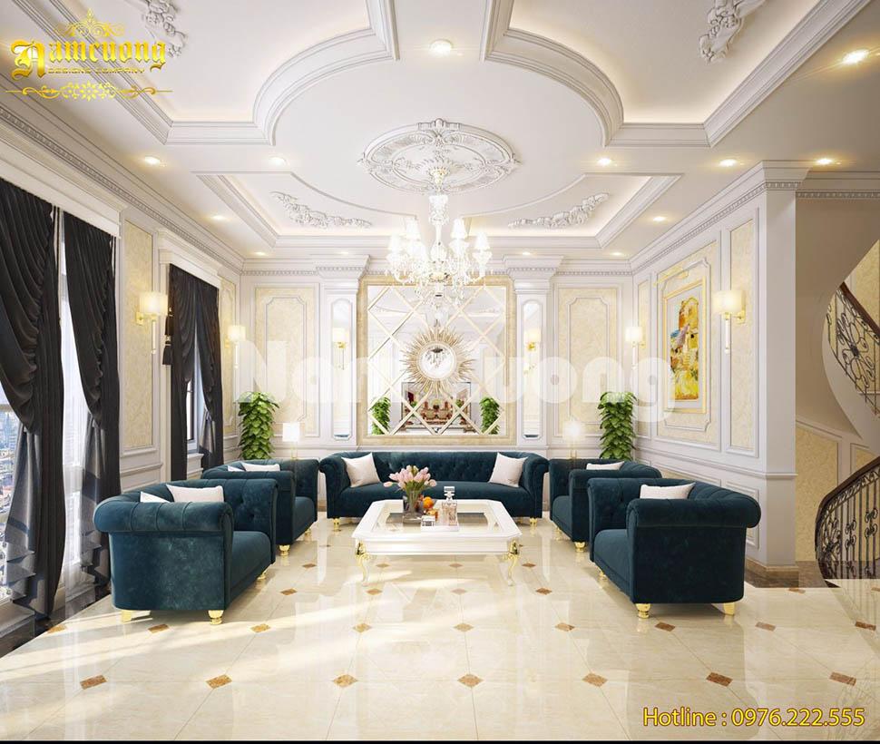 Thiết kế nội thất phòng khách tân cổ điển màu xanh độc đáo-NTPKCD 063