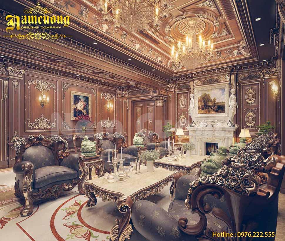 Mẫu thiết kế nội thất phòng khách của biệt thự lâu đài - NTPKCD 065
