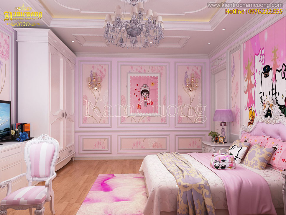 Mẫu thiết kế phòng ngủ tân cổ điển màu hồng dễ thương dành cho bé gái tại Hà Nội - PNCDH 001
