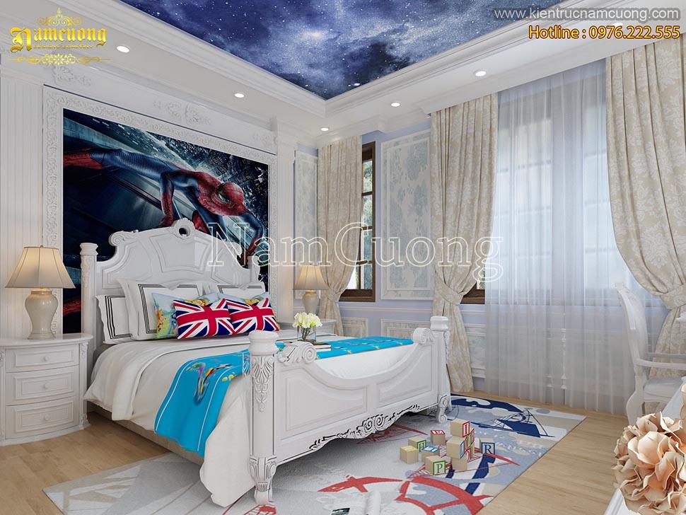 Độc đáo với thiết kế phòng ngủ tân cổ điển màu xanh dương cho bé trai - NTNCD 064