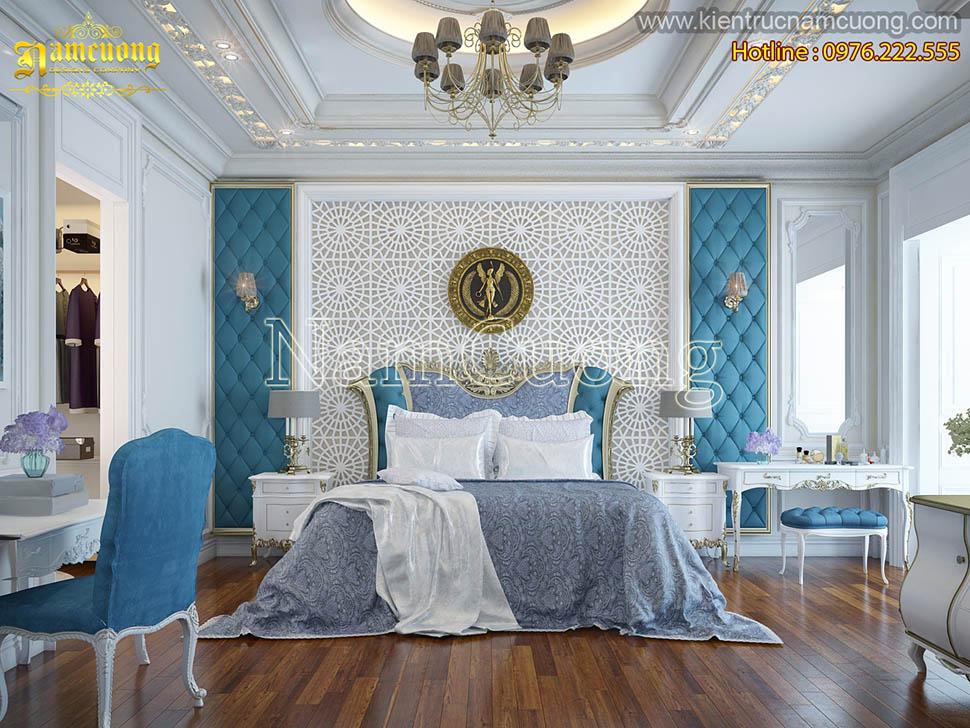 Thiết kế phòng ngủ tân cổ điển tích hợp phòng thay đồ và tiếp khách