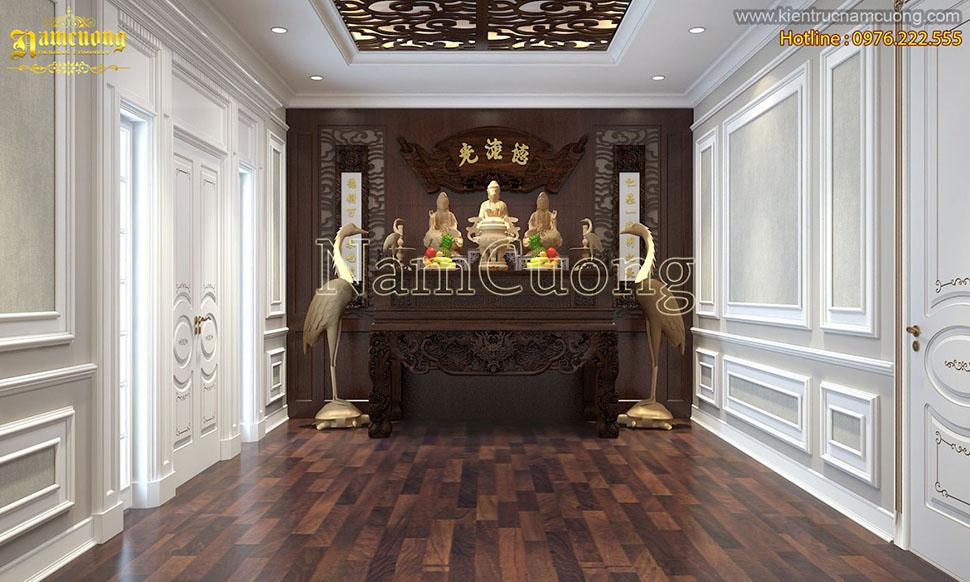 Tổng hợp những mẫu thiết kế nội thất phòng thờ tân cổ điển sang trọng tại Hà Nội - PTCD 005