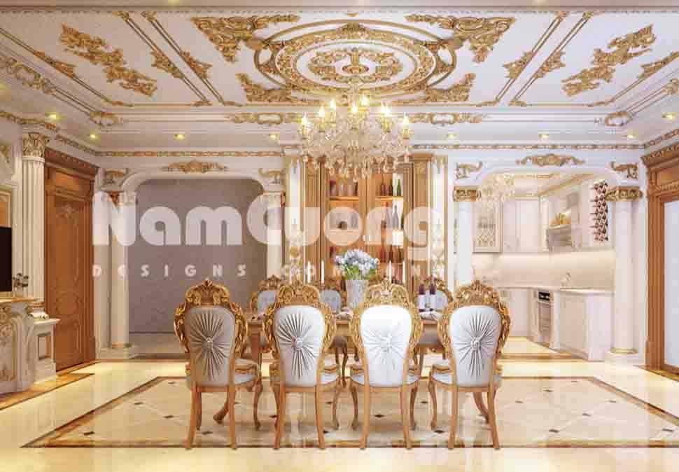Bộ sưu tập nội thất khách bếp biệt thự tân cổ điển do Nam Cường thi công