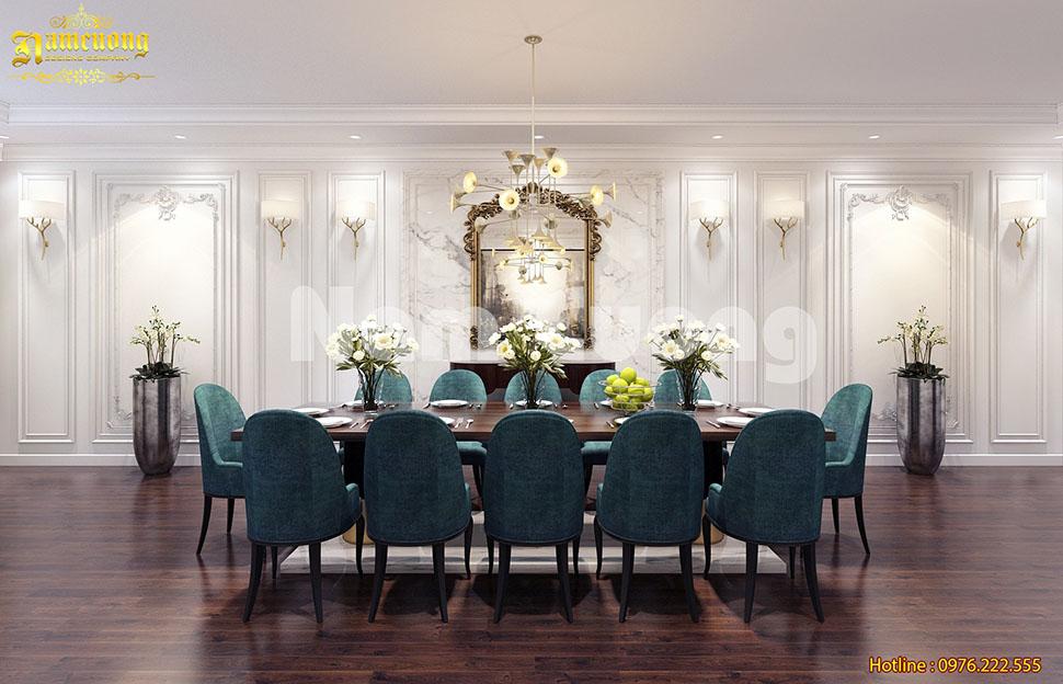Lôi cuốn với mẫu thiết kế phòng bếp liền phòng ăn trong biệt thự tân cổ điển
