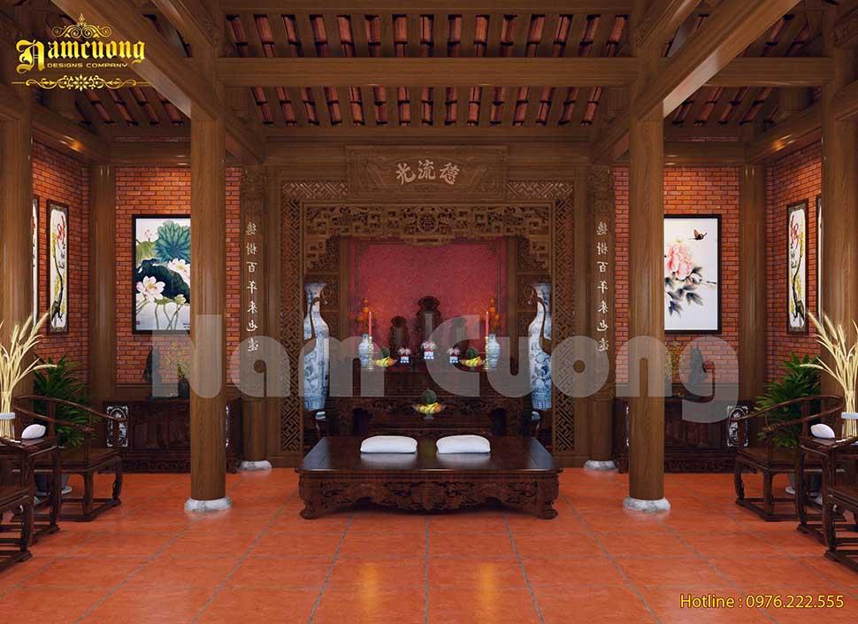Thiết kế nội thất nhà thờ 3 gian đẹp