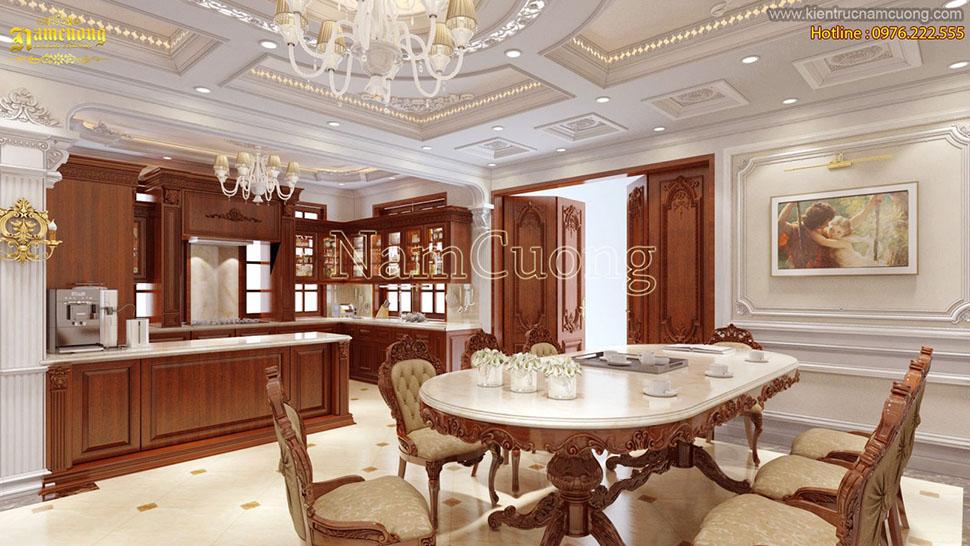 Thiết kế nội thất phòng bếp biệt thự cổ điển màu nâu gỗ lịch lãm - NTPBG 001