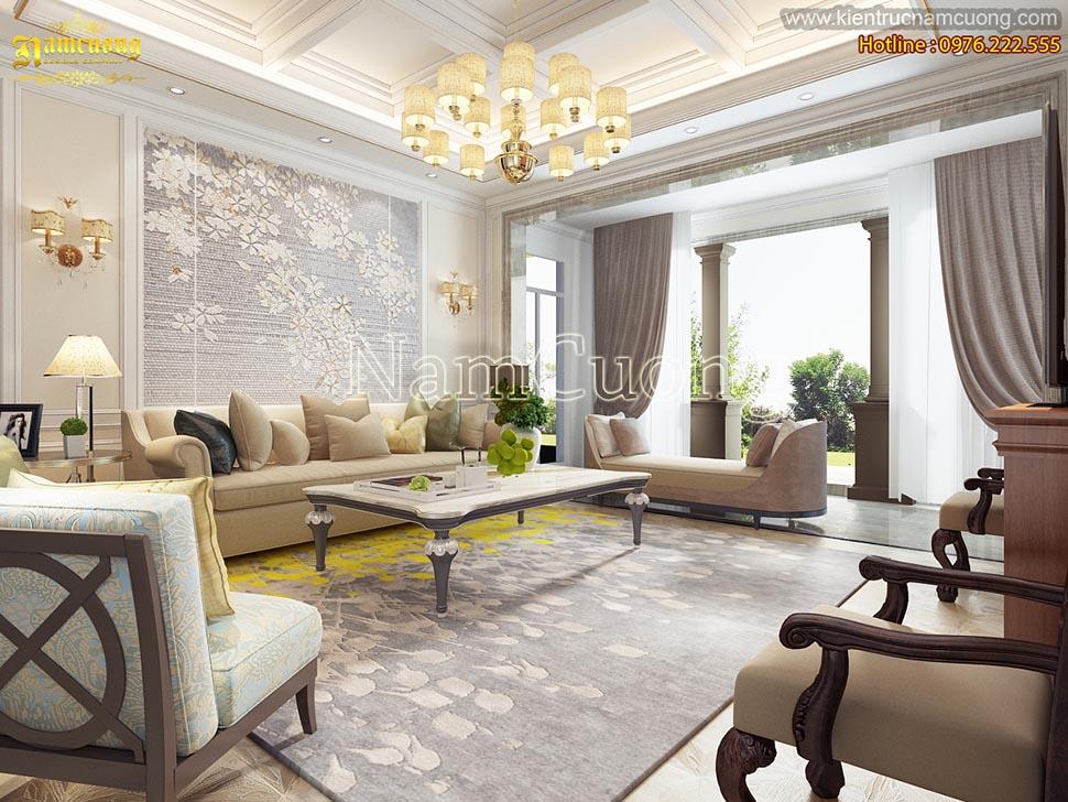 Mẫu thiết kế phòng khách tân cổ điển màu kem tại Hà Nội - NTPKK 002