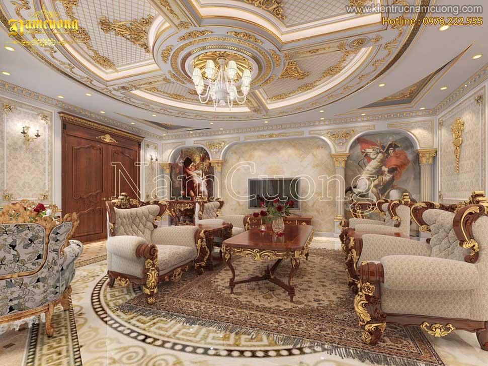 Những mẫu phòng khách bếp nội thất cổ điển màu trắng đẹp ấn tượng - NTPKT 002