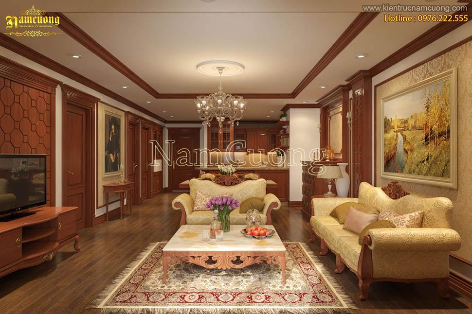 Lịch lãm mẫu thiết kế phòng khách cổ điển màu vàng tại Hải Phòng - NTPKV 002