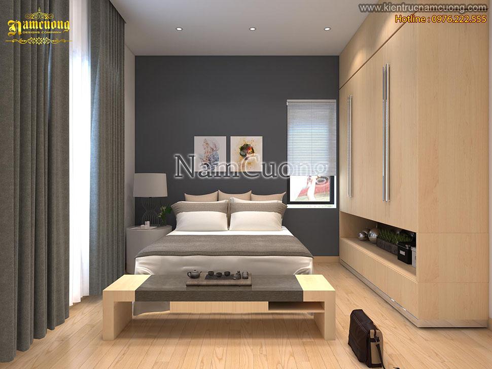 Thiết kế nội thất phòng ngủ màu ghi hiện đại đẹp tại Hải Phòng - NTPNG 001