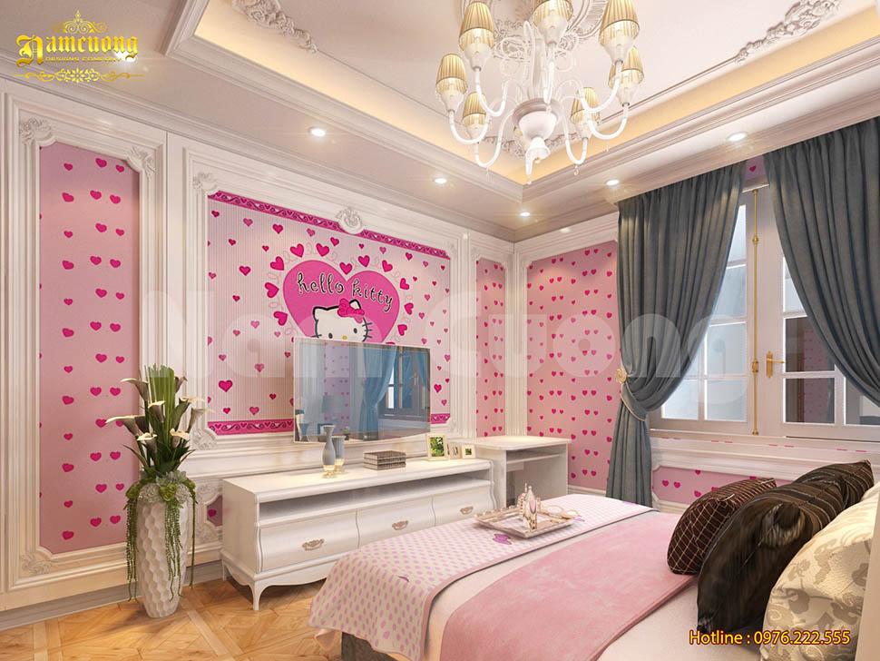 Thiết kế nội thất phòng ngủ màu hồng cho biệt thự tân cổ điển