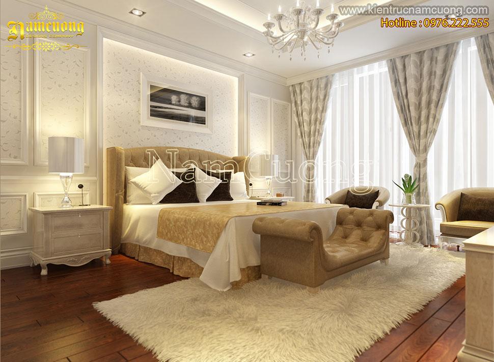 Mẫu nội thất phòng ngủ biệt thự tân cổ điển màu kem ấn tượng ở Sài Gòn - NTPNK 001