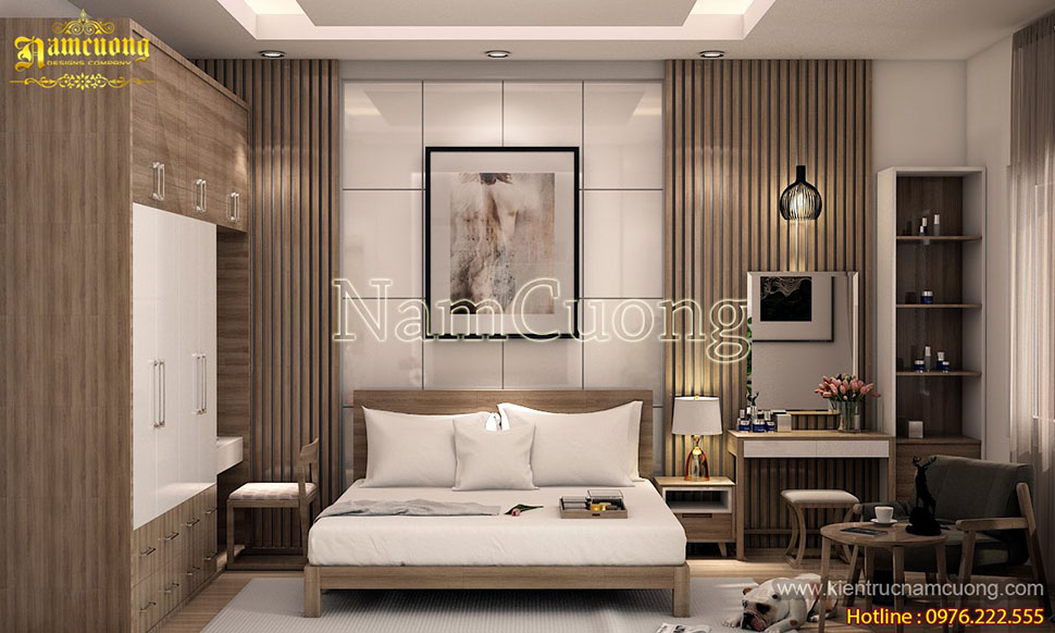 Mẫu thiết kế phòng ngủ hiện đại sang trọng với gam màu trắng - NTPNTR 001