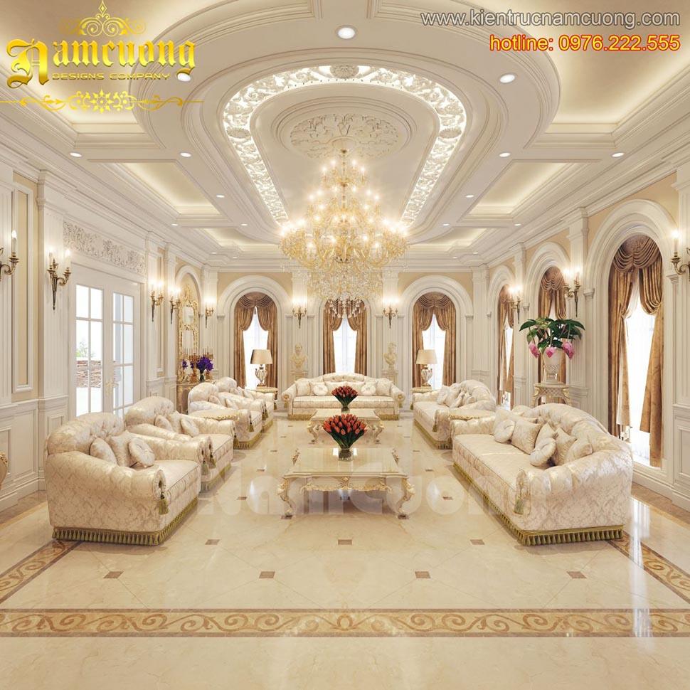 Mẫu thiết kế nội thất khách tân cổ điển ấn tượng tại Quảng Ninh - NTKTCD 036