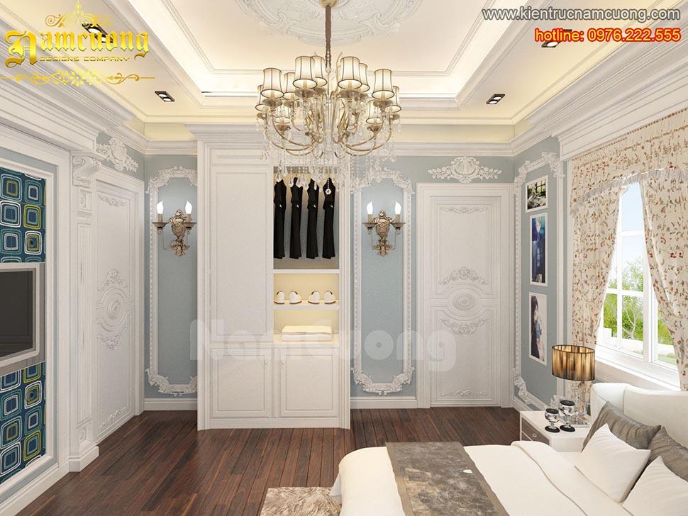 Mẫu thiết kế nội thất phòng ngủ tân cổ điển đẹp tại Quảng Ninh - NTNTCD 032