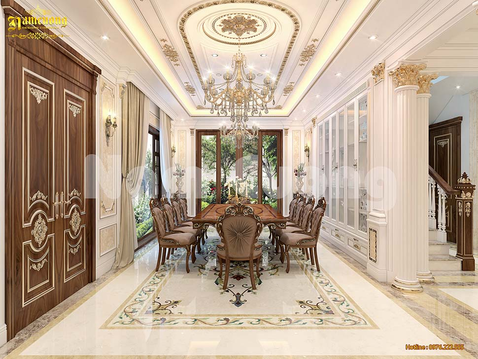 Thiết kế phòng ăn cổ điển cho biệt thự