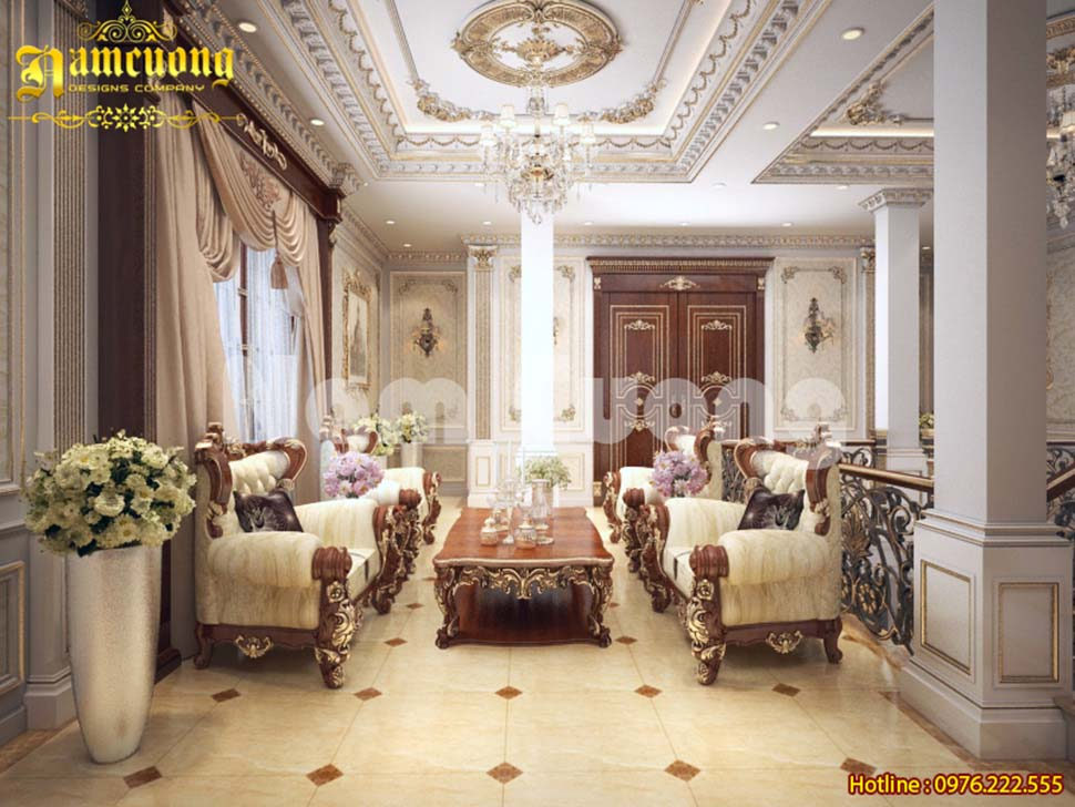 Các mẫu phòng khách biệt thự cổ điển đẹp tại Ninh Bình