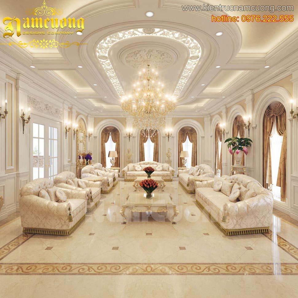 Mẫu thiết kế phòng khách biệt thự tân cổ điển đẹp