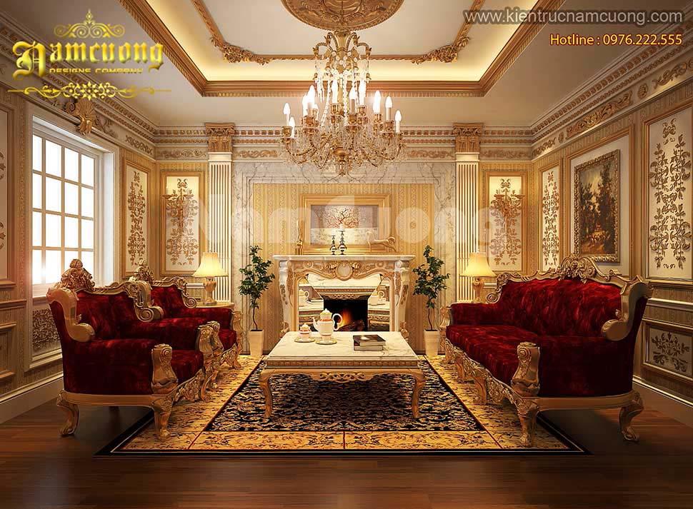 Mẫu thiết kế phòng khách kiểu Pháp sang trọng