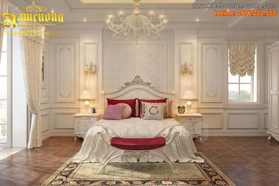 Thiết kế phòng ngủ màu trắng ấn tượng cho chủ nhân
