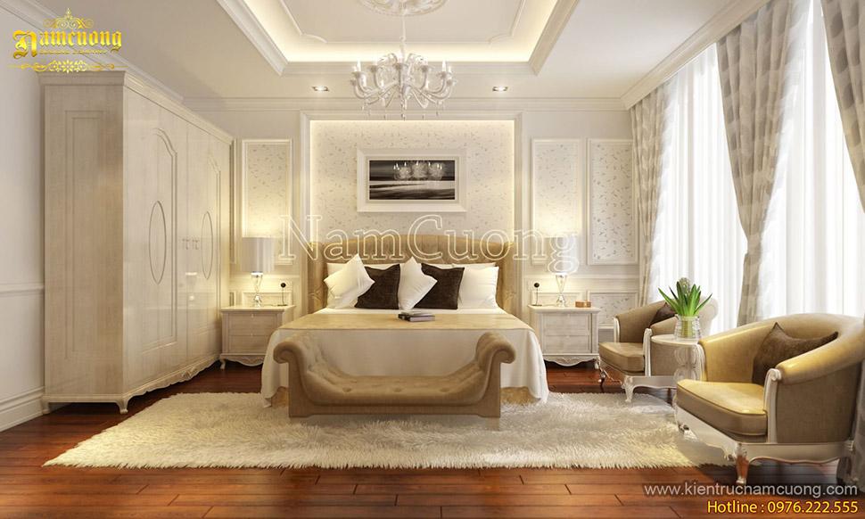 Mẫu nội thất phòng ngủ màu trắng kem ấn tượng ở Sài Gòn
