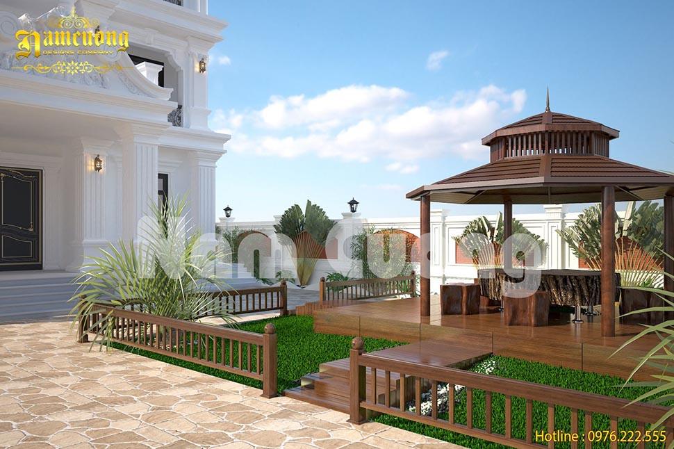 Mẫu thiết kế sân vườn có chòi nghỉ đẹp cho biệt thự