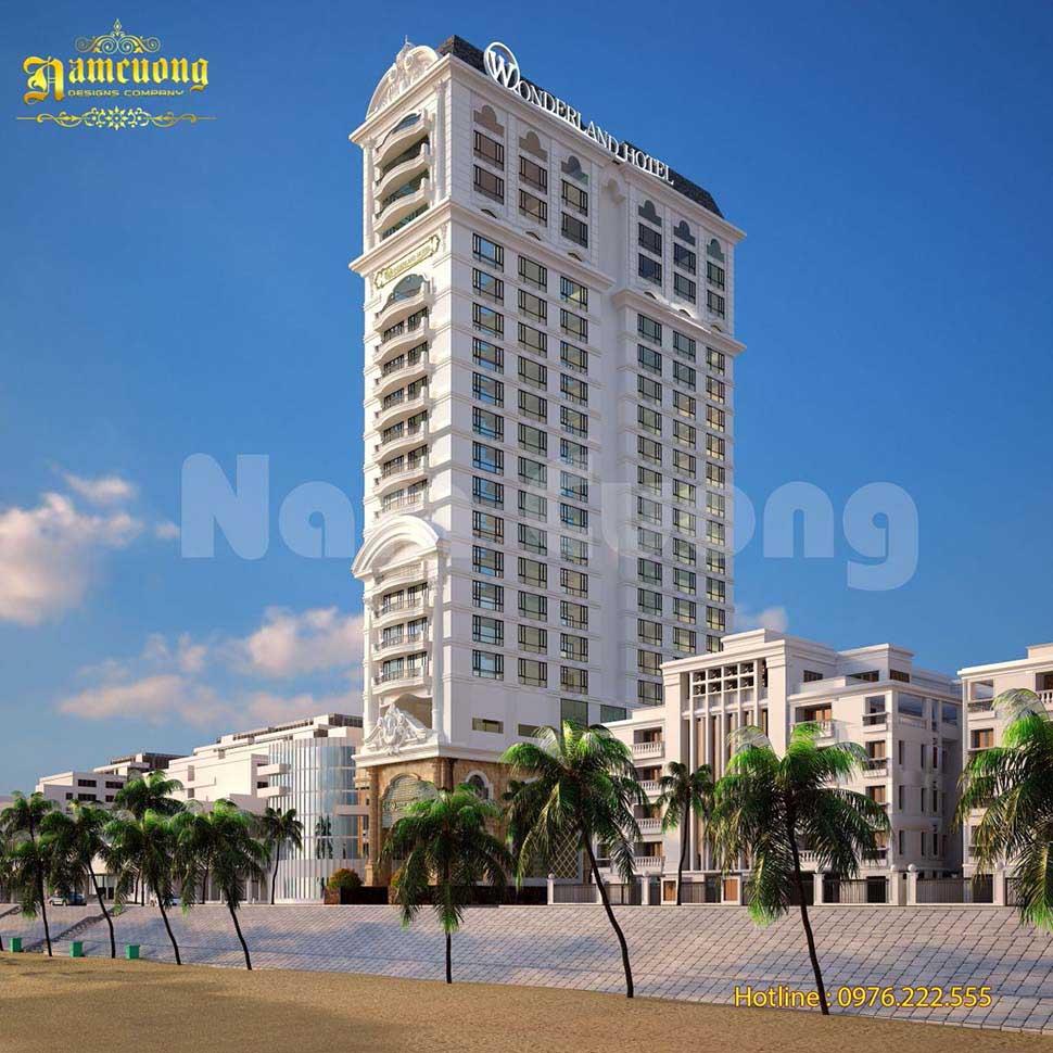 Thiết kế kiến trúc khách sạn 21 tầng hoành tráng