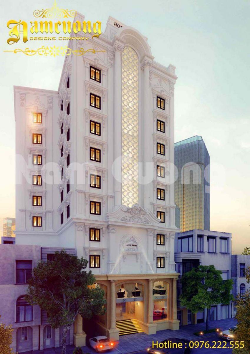 Thiết kế khách sạn 3 sao 11 tầng tân cổ điển đẹp