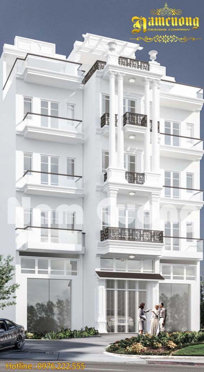 Gợi ý  mẫu thiết kế nhà phố tân cổ điển màu trắng