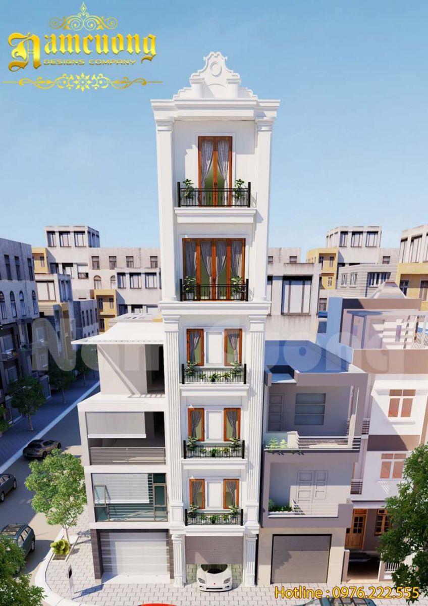 Thiết kế nhà phố 6 tầng mặt tiền 5m