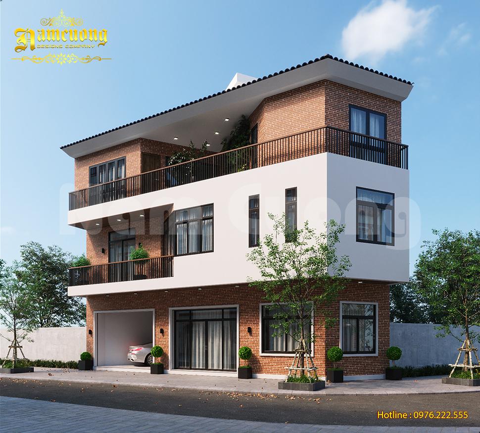 Thiết kế nhà phố hình thang phong cách hiện đại