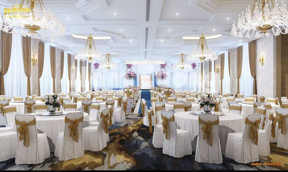 Mẫu thiết kế nội thất nhà hàng tiệc cưới  sang trọng