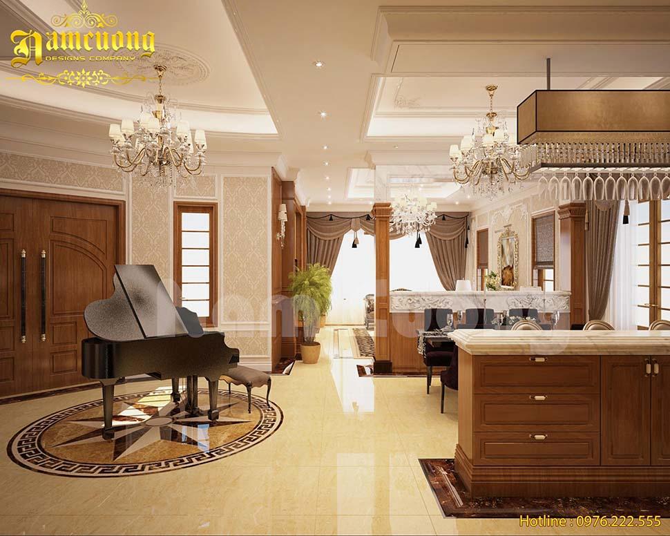 Thiết kế phòng khách cạnh bếp cho biệt thự